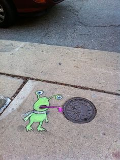 David Zinn Sluggo street art. I triple dog dare you!