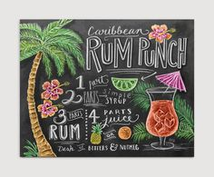 This tropical rum punch print by LilyandVal is the perfect accessory for any home bar.