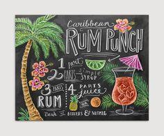Receta arte - tiza arte - cocina pared Decor - verano grabado - Tropical arte - pizarra - ilustrado imprimir