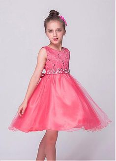 In Stock Unique Tulle & Lace Jewel Neckline A-line Flower Girl Dresses With Beadings