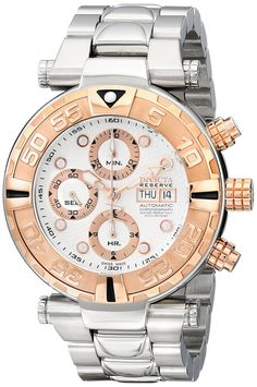 Invicta Men's 10483 Subaqua Reserve Automatic Chronograph Silver Textured Dial Stainless Steel Watch.  Bringing you the best luxury watches online at the most affordable prices for premium brand name watches: http://www.bestwatches1st.com/#!invicta-reserve-watch-collection/yjrbt