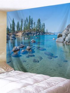 Clear Lake Wate Printing Home Wall Hanging Tapestry for Decoration - multicolor Wall Stickers Ocean, Wall Stickers Wallpaper, Wall Decals, Wall Art, Tree Tapestry, Tapestry Wall Hanging, Wall Hangings, Cheap Wall Tapestries