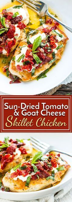 Sun-Dried Tomato & Goat Cheese Chicken is a recreation of Carrabba's Chicken Bryan. Easy skillet chicken is topped with fresh goat cheese, sundried tomatoes, basil and the most delicious lemon sauce for a keto, low-carb and gluten-free dinner recipe. Gluten Free Recipes For Dinner, Healthy Recipes, Cooking Recipes, Tofu Recipes, Recipes Dinner, Paleo Dinner, Recipies, Vegemite Recipes, Whole30 Recipes