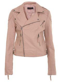 veste de motard rose avec detail coutures / miss selfridge