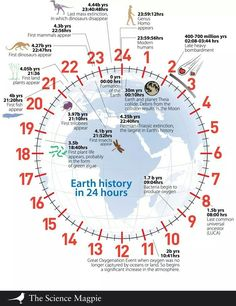 We've been alive for about 4 seconds. The history of the Earth if it all happened in 24 hours. [The Science Magpie] Science Classroom, Teaching Science, Science Activities, Life Science, Geography Classroom, Earth And Space Science, Earth From Space, Science And Nature, Jeux Xbox One