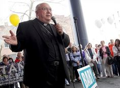 """Bishop Morlino taking a hardline with dissenters. """"This is a warning shot across the bow — you either want to be a Catholic or you don't,"""" said Gregory Merrick, a member of the church's pastoral council."""