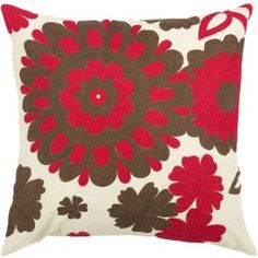 Red and Brown Flowered Down Filled Decorative Throw Pillow