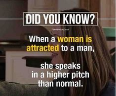 psychology says, when a women is attracted to a man, she speaks in a higher pitch than normal. Psychology Fun Facts, Psychology Says, Life Hacks Music, Weird Facts, Strange Facts, True Interesting Facts, Facts About Humans, Brain Facts, Human Personality