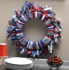Patriotic  | Make an easy, patriotic wreath from all-American bandanas | Crafts n ...