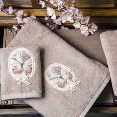 Σετ Πετσέτες 3 τμχ Απλικέ με πεταλούδα Borea Aniqa 53203 Σπαγγί Jacquard Weave, Towel, New Homes, Towels
