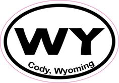 3in x 2in Oval Cody Wyoming Sticker Vinyl State Vehicle Bumper Stickers