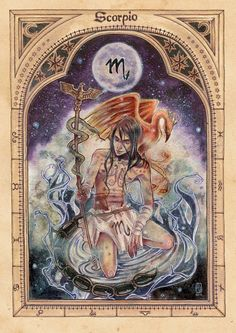 Scorpio - the Scorpion Associated with death and decay as well as intense sexual energy and passion, although inclined to jealousy. [Aries] [Thaurus] [Gemini] [Cancer] [Leo] [Virgo] [Libra] [...