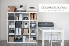 from design aglow- how to set up a packaging station for under $250. ikea to the rescue! (as well as inspiration for repurposing furniture)