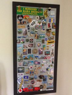 Framed display to hang magnets collected on our travels (too many for the fridge)