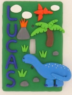 Sculpey Dino Light Switch Cover | AllFreeKidsCrafts.com