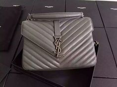 ccc5d9ef095e4  Final Sale SAINT LAURENT CLASSIC MEDIUM MONOGRAM SAINT LAURENT COLLÈGE BAG  IN GREY MATELASSÉ
