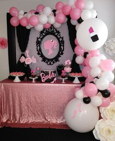 Barbie party #barbietheme #vintagebarbie #BalloonGarland #rosegold Barbie Party Decorations, 1st Birthday Girl Decorations, Barbie Theme Party, Barbie Birthday Party, Girl Birthday Themes, Birthday Backdrop, Birthday Ideas, 7th Birthday Party For Girls, Diy Birthday Party Favors