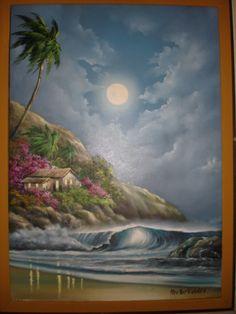 Quadro O.S.T, retratando casebre na praia em noite de luar. Assinado C.I.D. Hector Valdez. - #Leilão ao vivo em andamento!