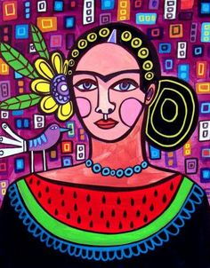 It's weird that I'm obsessed with this. Watermelon Art Modern Squares Frida Kahlo by HeatherGallerArt, $24.00