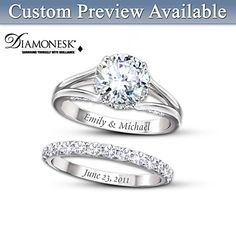 Diamonesk Personalized Bridal Ring Set - Bradford Exchange - personalize - $119.00 or 4 payments of $29.75