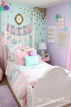 70 inspiring and creative kids bedroom decorating ideas for girls & boys 43 - Home Design Ideas Pastel Girls Room, Pastel Room Decor, Baby Room Decor, Girls Room Purple, Girls Bedroom Colors, Colorful Girls Room, Lavender Girls Rooms, Purple Princess Room, Kids Bedroom Ideas For Girls Toddler
