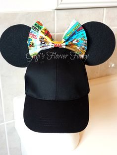 "Mickey Minnie Animated Bow Ears Hat | Vintage Cartoon Fabric Bow | Baseball Cap Mickey Minnie Ears | ""Ear Perfection - Stay Up"" Ears by GigisFlowerFancy on Etsy"