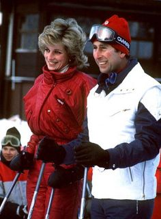 Smiling Couple-Prince Charles and Princess Diana on their ski holiday