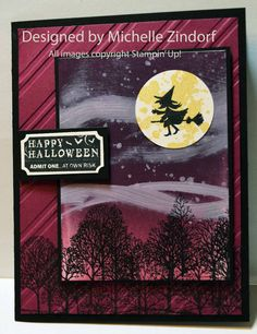 Witch's Ride – Stampin' Up! Card and Chick's Invade the Big Coop Posted on October 10, 2013 by zindorf | Stamps: Halloween Hello (131721), Gorgeous Grunge (130517), That's the Ticket (128075) and Lovely as a Tree (127793); Card Stock: Whisper White, Basic Black and Rich Razzleberry; Ink: Rich Razzelberry, Elegant Eggplant, So Saffron, Whisper White, Stazon Jet Black; Accessories: Ticket Duo Builder Punch (126883), Brayer 102395), Stylish Stripes EF (132174), 1-3/8″ Circle Punch (119860)