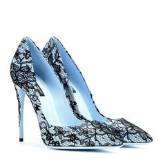 Dolce & Gabbana Kate Lace-Coated Pumps ($345) ❤ liked on Polyvore featuring shoes, pumps, heels, scarpe, saltos, blue, blue heeled shoes, blue lace shoes, dolce gabbana pumps and lace shoes