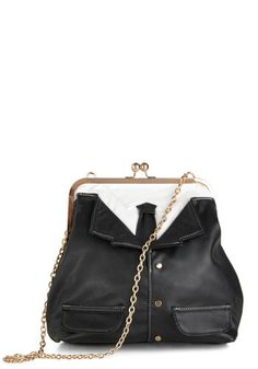 Up in the Debonair Bag - Black, White, Chain, Statement, Faux Leather, Menswear Inspired
