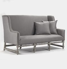 Grey Fabric Extra Large Sectional Sofas With High Backrest And Square Grey Cushions On Carved Wooden Base