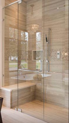 - Once Upon a Home Badezimmer Badezimmer dusche - Banyo yeniden modelleme Master Bathroom Shower, Modern Master Bathroom, Bathroom Design Small, Bathroom Layout, Bathroom Interior Design, Bathroom Showers, Bathroom Ideas, Beige Bathroom, Vanity Bathroom