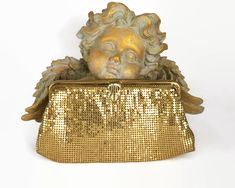 Vintage gold mesh clutch purse with rhinestone clasp and gold metal frame, beautiful gold color, circa by CardCurios on Etsy Metal Mesh, Clutch Purse, Evening Bags, Cosmetic Bag, 1970s, Fancy, Handbags, Purses, Frame