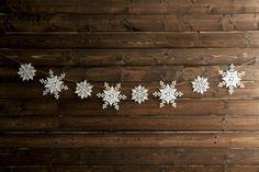 Snowflake garland available on Etsy Christmas And New Year, Winter Christmas, Christmas Holidays, Christmas Crafts, Christmas Ideas, Christmas Coffee, Magical Christmas, Country Christmas, Christmas Pictures