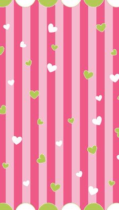 Green & White Hearts Pink Stripes Wallpaper.