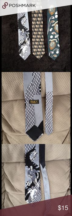 "Men's silk tie bundle with golf & soccer themes Three all silk ties from 55"" long to 58"" long. 4"" & 3 3/4"" at widest to 1 3/8"" - 1 1/2"" - 1 3/4"" at narrowest. Gently worn. Cornell California,Enrico Guccini, American sports classics. Accessories Ties"