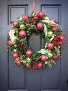 Christmas Wreaths Pink and Green Evergreen by WreathsByRebeccaB