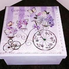 Resultado de imagen para laminas para bandejas Decoupage Vintage, Decoupage Box, Painted Boxes, Hand Painted, Pretty Box, Altered Boxes, Jewellery Boxes, Craft Box, Easy Diy Crafts