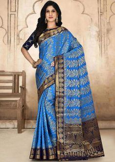 #blue #kanjivaram #silk #saree #blouse #attractive #design #sareelove #new #arrivals #beautiful #indianwear #ootd #traditional #womenswear #online #shopping Kanjivaram Sarees, Art Silk Sarees, Dark Blue Color, Navy Blue, Back Neck Designs, Weaving Art, Saree Wedding, Indian Wear, Sleeve Styles