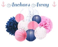 Give a special touch to your next party with this darling combination of hand-made tissue paper pom poms, accordion lanterns, honeycomb tissue balls and paper lanterns. Youve asked for it and weve listened - now the perfect sized bundle for decorating over a party or gift table. This 10-piece kit is the perfect hanging party decor for a girls nautical themed birthday party or baby shower or a pink and blue gender reveal party. Let us help you make decorating for your next party easy. This…