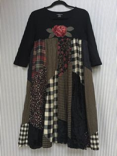 RESERVED Upcycled Black Patchwork Dress by SimplyCathrineAnn