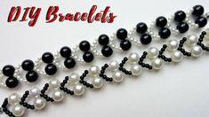 Jewelry making tutorial. White and black bracelets. DIY JEWELRY - YouTube