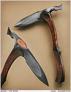 """Pattern Welded head, 6"""" on the spike, 1.5 """" blade on the back end. 6 Core opposing twists, and random edges. Punched and drifted eye. The handle is dyed and antiqued ash. Stands about 16"""" tall and the overall length of the head is 10"""" Photos by Jim Cooper"""