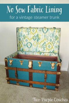 No Sew Fabric Lining for a Vintage Trunk. Follow this simple tutorial to line a trunk with patterned fabric. via Two Purple Couches
