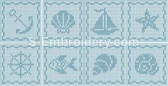 SKU 10422 Marine crochet square embroidery set - A set of 8 marine freestanding lace crochet squares. Crochet Patterns Filet, Crochet Tunic Pattern, Granny Square Crochet Pattern, Crochet Squares, Crochet Motif, Crochet Doilies, Cross Stitch Patterns, Crochet Curtains, Tapestry Crochet