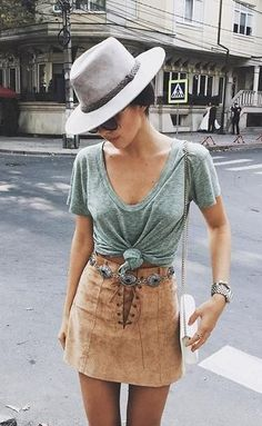 @roressclothes closet ideas #women fashion outfit #clothing style apparel Green T-shirt and Suede Skirt via