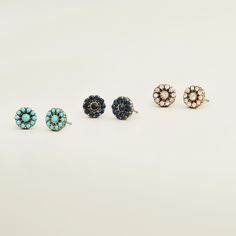 Turquoise, Blue and Pink Stud Earrings, Set of 3 | World Market