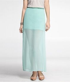 Express Womens Side Slit Chiffon Maxi Skirt in March 2013 from EXPRESS on shop.CatalogSpree.com, my personal digital mall.