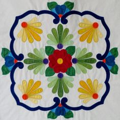 Fiesta de Talavera -- This breathtaking quilt pattern was inspired by painted Mexican Talavera tiles. Nine applique blocks along with an applique border. Finished quilt size is x design by J. Quilt Block Patterns, Applique Patterns, Applique Quilts, Embroidery Applique, Quilt Blocks, Applique Ideas, Hand Applique, Machine Applique, Quilting Projects
