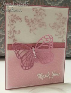 Stampin' Up Sweet Sugar plum ink, paper and ribbon, vellum, Timeless Textures stamp set and Rose Wonder  Stamp set, hand made thank you card.
